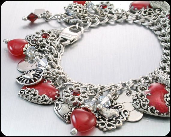 Heart Charm Bracelet Silver Charm Bracelet by BlackberryDesigns, $123.00