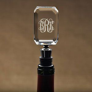 "Personalized Monogram Wine Stopper by ETC. $24.95. This stunning wine stopper is both stylish and practical. The elegant top has beveled edges and can be personalized with a monogram of your choice. It's the perfect gift for any wine lover, or a splendid addition to your own kitchen.   Exclusive design by etc TradeDimensions: 5"" L x 1 1/2"" W x 3/4"" thickFast Turnaround: 1-2 business days for personalization, before shipping. Save 10% on all gifts by entering ..."