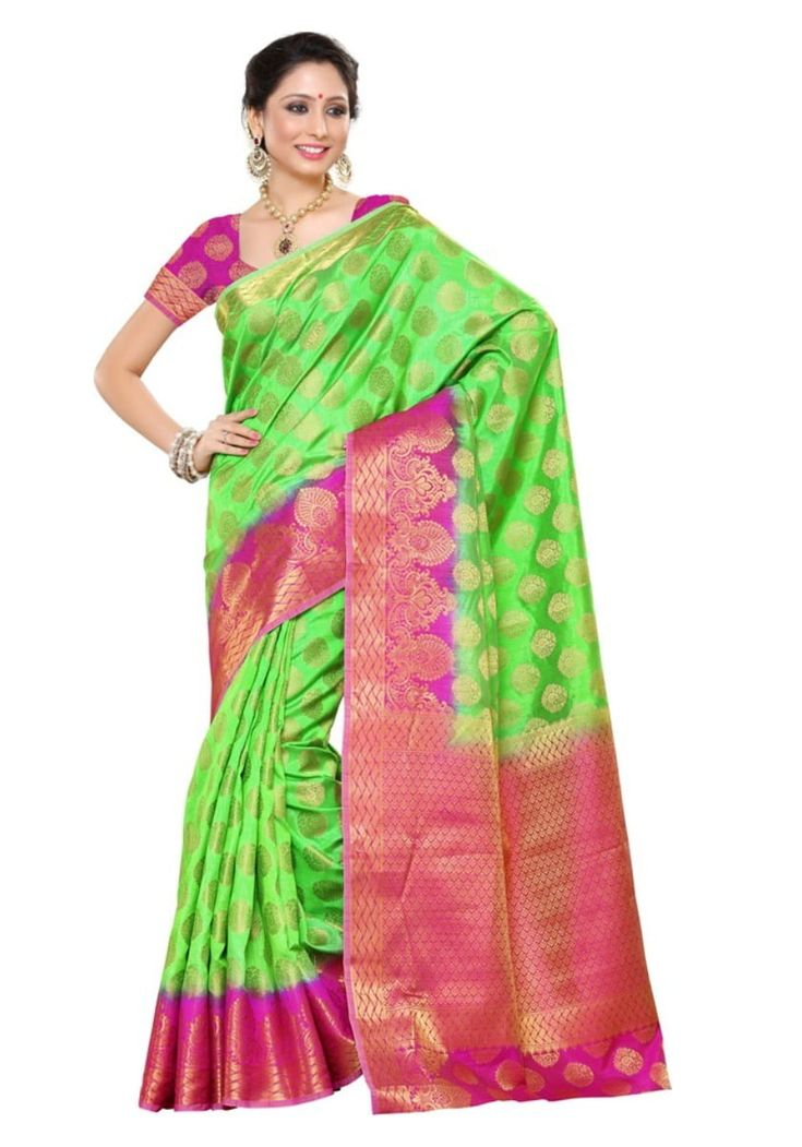 Mimosa Women's Traditional Artifical Tussar Silk Saree , color :Parrot Green-Fulpy Social Shopping | Share, Discover and Buy Handpicked Products