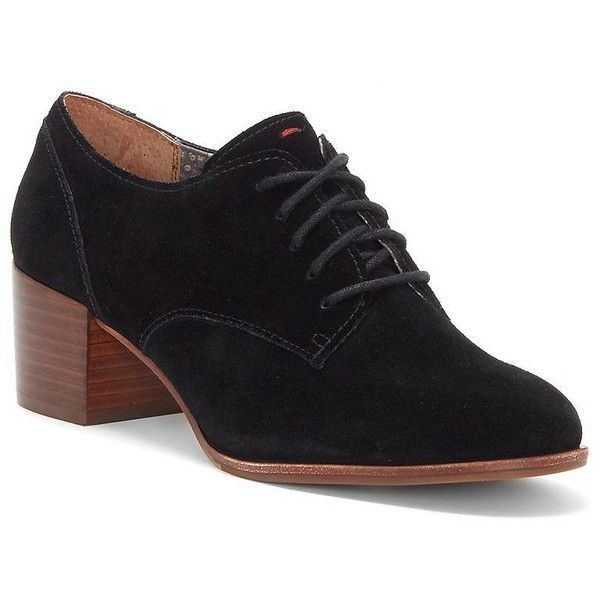 Ed Ellen Degeneres Women's Phoebe Suede Oxfords (165 CAD) ❤ liked on Polyvore featuring shoes, oxfords, black, suede lace up oxfords, suede lace up shoes, black suede oxfords, oxford shoes and suede oxfords #oxfordoutfit