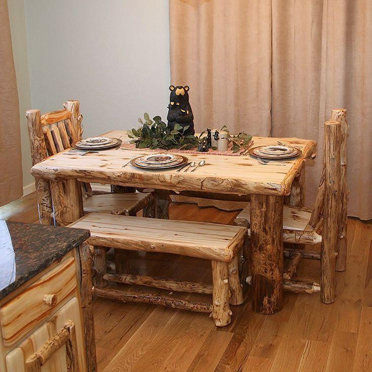 Light Aspen Log Dining Table Trl All Dt 7 In 2020 Cabin Furniture Log Furniture Log Cabin Furniture