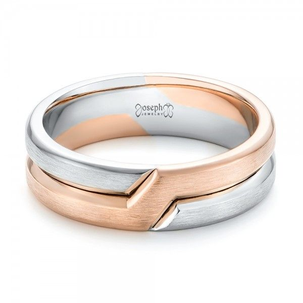 This Stylish Men S Wedding Ring Features Two Bands That Intertwine One Made Of Rose Gold And The Other Palladium It Was Created For A From