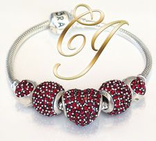pave red genuine authentic pandora bracelet european pave charm bead set - Pandora Bracelet Design Ideas
