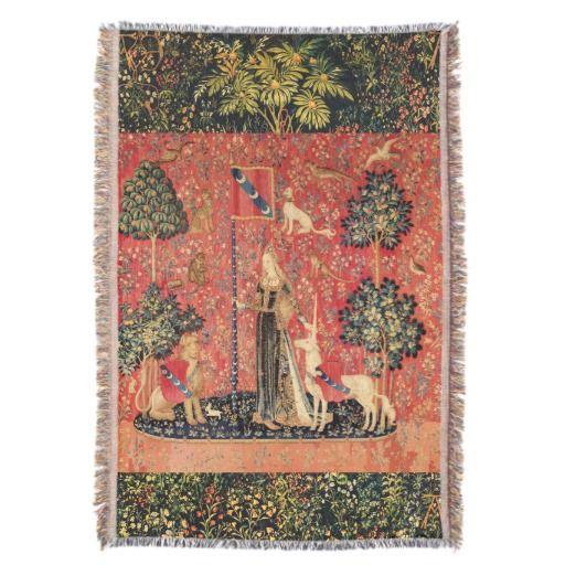 LADY AND UNICORN Lion,Fantasy Flowers,Animals Throw Blanket #music #fantasy #garden #flowers #beauty #heraldic