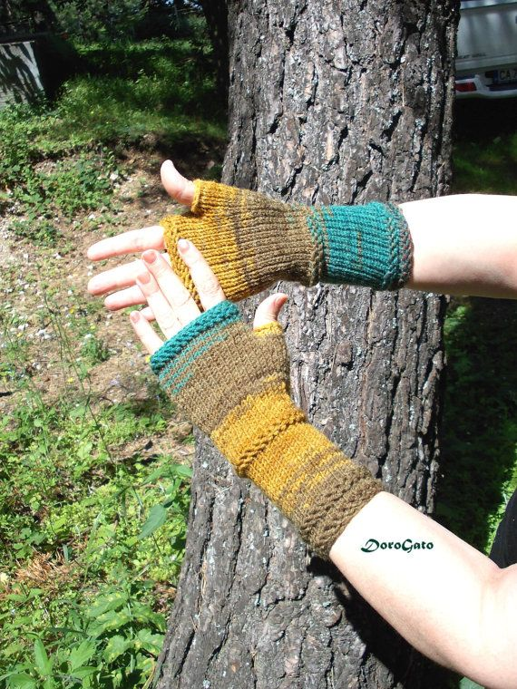 Knit gloves Gloves with no fingers hand Knit by DoroGato on Etsy