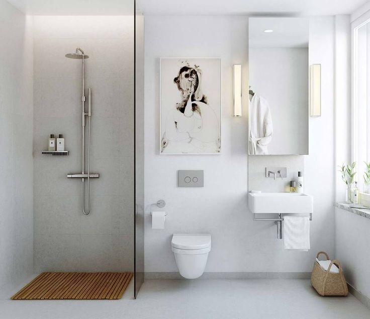 Baño blanco con iluminación