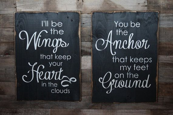 Large Wood Sign - I'll be the Wings You be the Anchor- Subway Sign on Etsy, $70.00