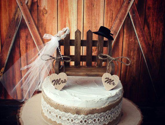 Western Wedding Cake Topper Rustic Cowgirl