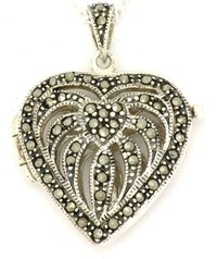 Sterling Silver Marcasite Heart Locket