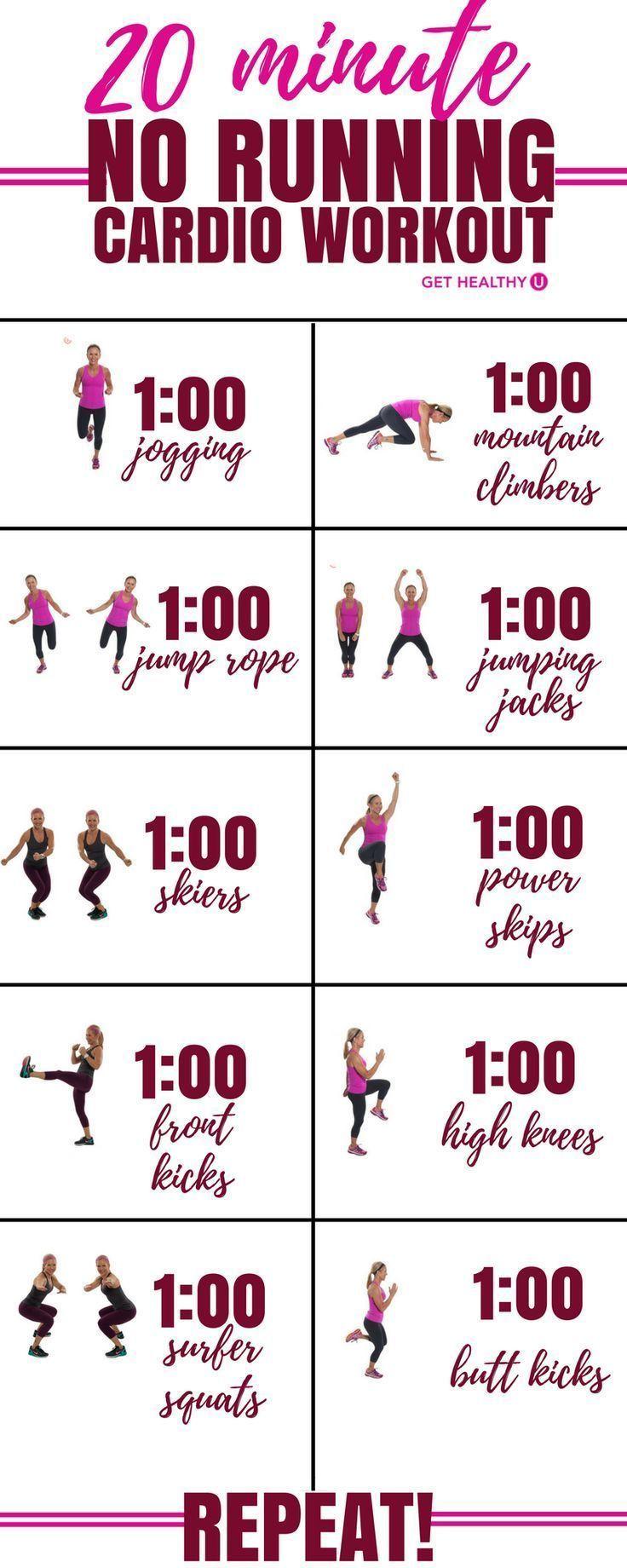 Schauen Sie sich dieses 20-minütige hochintensive Cardio-Training mit hoher Kalorienintensität an, das Sie in