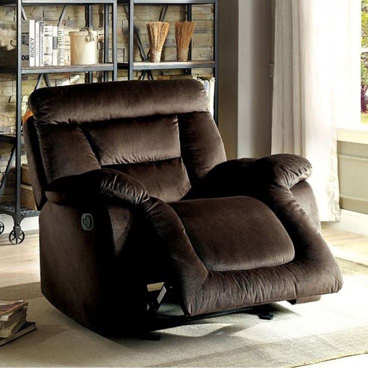 Benzara Moira Transitional Glider Recliner, Brown Finish, Size Standard (Upholstered)