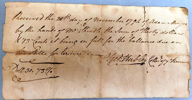 This excise tax receipt was drafted during the tumultuous years of the Whiskey Rebellion.