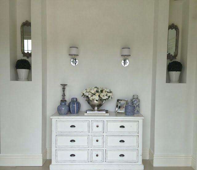 by latreilledesignInteriorsblog  ENRTY REVEAL...Stage 1- Painted white walls with chalk paint.