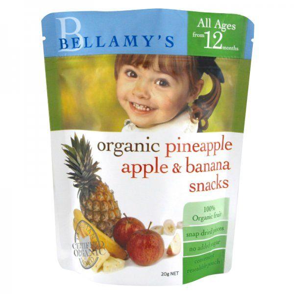 Organic Pineapple Apple & Banana Snacks Ingredients: Organic snap dried fruit (100%)(banana, apple, pineapple).