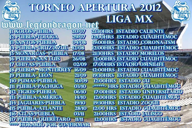 Calendario de juegos de la franja, Apertura 2012 Liga MX  @Pueblafcoficial