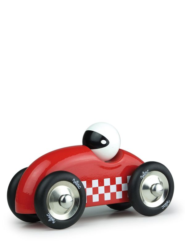 Vilac Large Rally car - Old style wooden sports car in a racy red with checkers, by Vilac