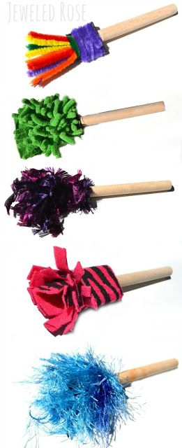 Kids Art Supplies:  Make your own paint brushes using loose parts from around the home.