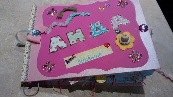 Handmade album for a new baby born girl