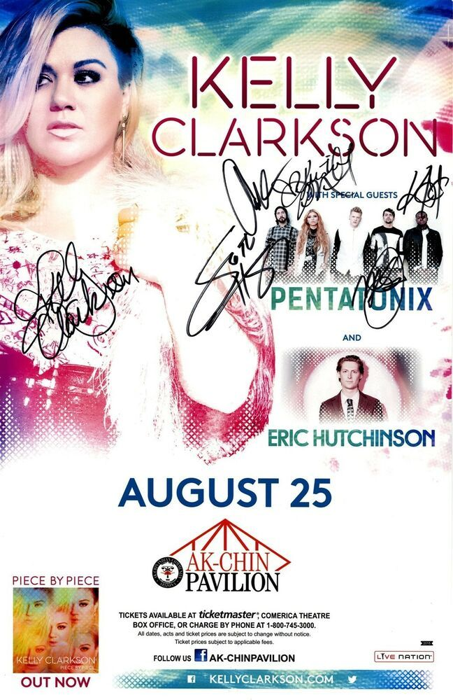 KELLY CLARKSON & PENTATONIX autographed band signed 2015