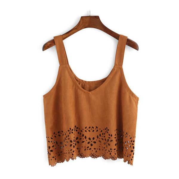 SheIn(sheinside) Straps Suede Pierced Cami Top (£9.71) ❤ liked on Polyvore featuring tops, brown, crop, spaghetti-strap tank tops, vintage tank top, spaghetti strap crop top, spaghetti strap cami and brown tank top