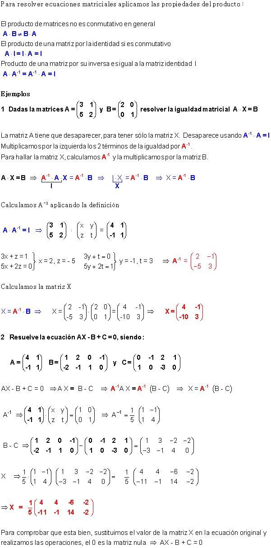 Ecuaciones Matriciales.