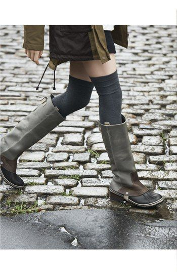 Sorel 'Slimpack' Riding Boot - geez this is a cute look. You can't go wrong with over the knee socks.
