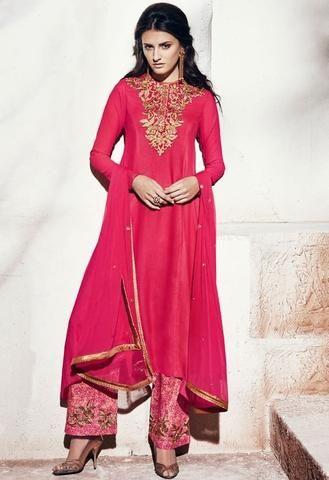 Pink Georgette Salwar Kameez ,Indian Dresses - 1
