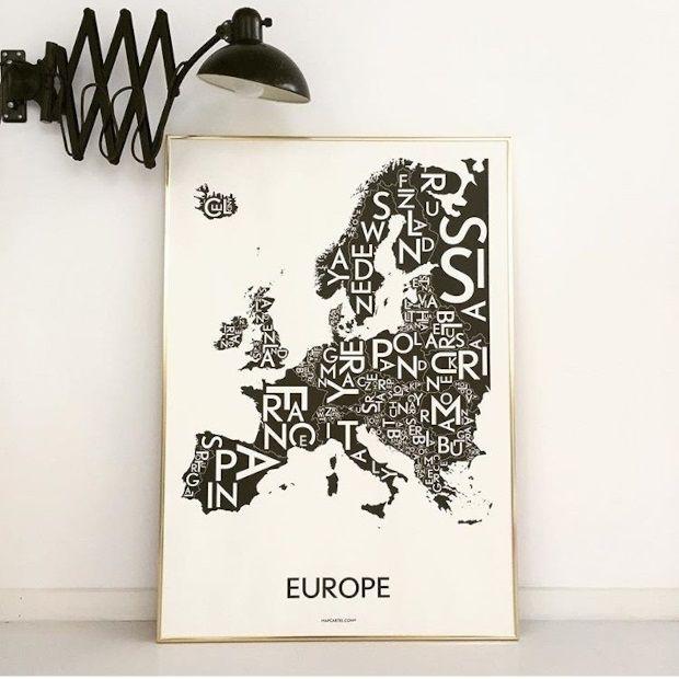 Kortkartellet Poster Europe 50 x 70 cm - Charcoal Grijs - afbeelding 2