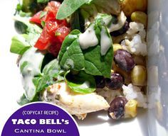 {Copycat Recipe} Taco Bell's Cantina Bowl...hmmmm worth a try! Will probably tweak a bit - I love the dressing and corn salsa but hate their guacamole.