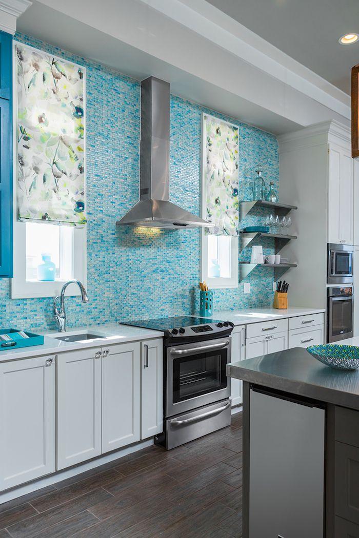 ▷1001 + Ideas for Stylish Subway Tile Kitchen Backsplash ... on teal glass tile kitchen backsplash, teal kitchen paint color ideas, teal painted backsplash,