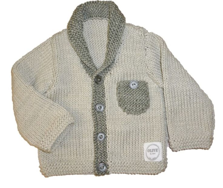 OBC VINTAGE CARDIGAN. Hand knitted cardigan with slate border and pocket detail. Made using 100% natural cotton. Sizes: 0-3m, 3-6m, 6-12m #olivebyclare