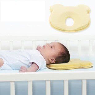 Baby Infant Head Rest Support Cotton Pillow Memory Foam Prevent Flat Little Bear Reducing the risk of a flat spot forming (Plagiocephaly) in babies. Made from shape memory foam. developed to provide gentle support for baby's head and natural head movements. Care instructions: Spot clean with a damp cloth only. Do not immerse in water as this tends to harden the memory foam.. Size: 23cm*23cm*3cm.