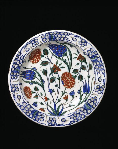 Dish  Iznik, Turkey   ca. 1575-1580   Fritware, polychrome underglaze painted, glazed  London V, 725-1893