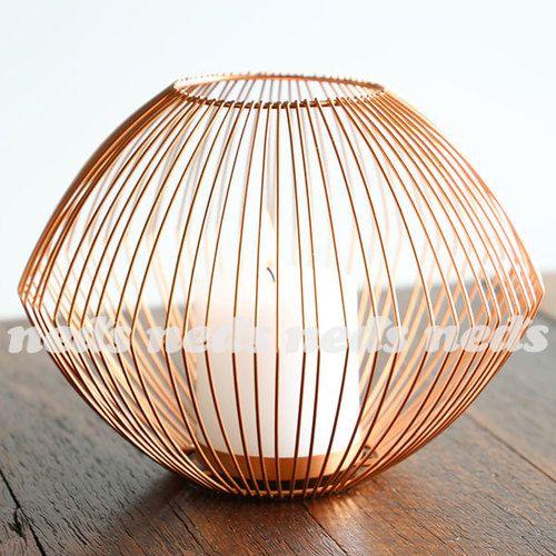 Copper Coloured Candle Holder - Cage Design