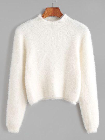 White Crew Neck Crop Fuzzy Sweater