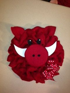 18 inch red burlap razorback wreath by joansburlapboutique on Etsy, $35.00