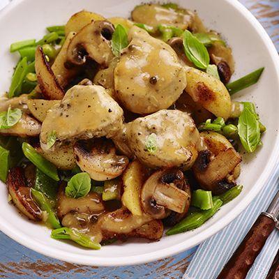 Varkenshaasje met champignons en pepersaus
