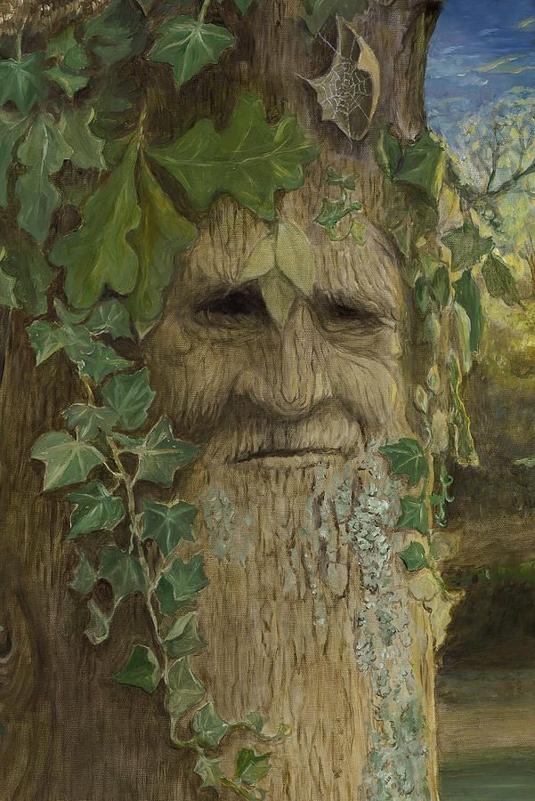 Talking Tree: Greenman Painting  - Greenman Fine Art Print