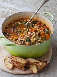 Barefoot Contessa - Winter Minestrone & Garlic Bruschetta. You MUST make this soup - the whole family loved it. A great way to get extra veggies in. The pesto at the end totally makes the soup.