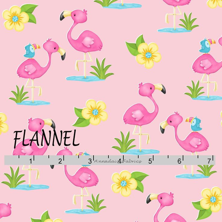 Pink Flamingo Flannel Fabric, Flamingos, Yellow Flowers, Little Blue Bird  Baby Flannel Fabric, A E Nathan 0865 22, Cotton Flannel Yardage by AnnadaisysFabrics on Etsy https://www.etsy.com/listing/578676104/pink-flamingo-flannel-fabric-flamingos