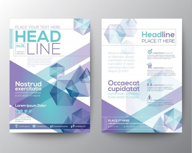 Leaflet with bright polygonal shapes Free Vector
