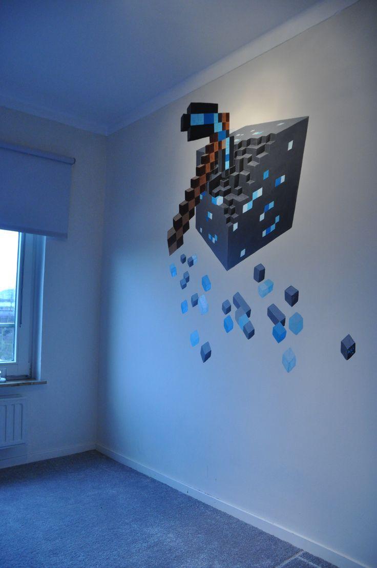 Mural Minecraft Diamond Block & Pickaxe 2 by Andrea Haandrikman