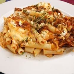 Layers of ziti pasta, beefy tomato sauce, sour cream and Italian cheeses get a final dash of flavor with a generous sprinkling of chopped fresh basil before baking.