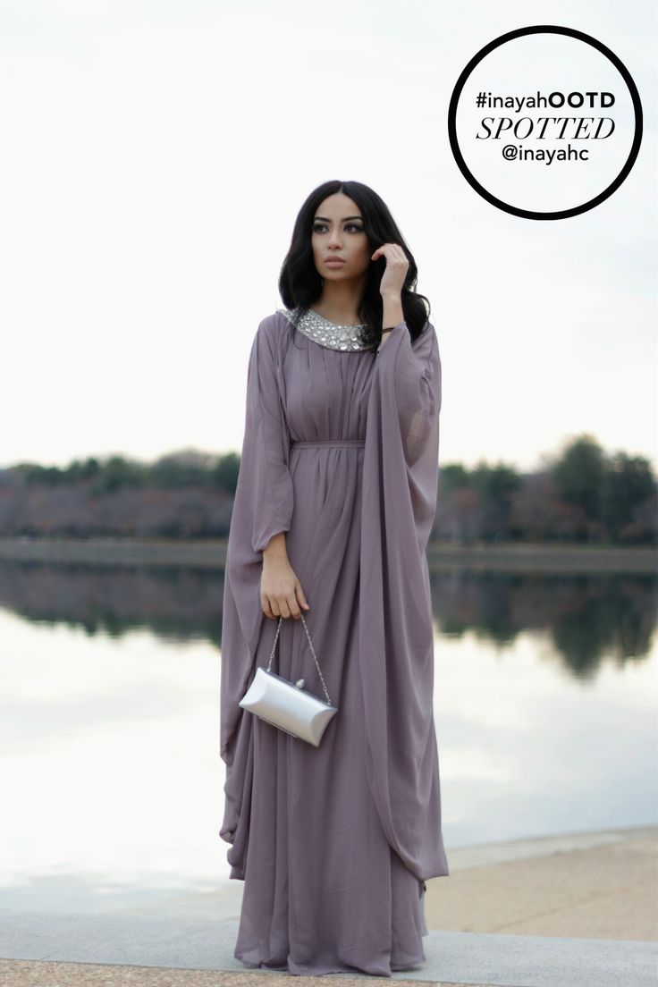 SPOTTED : Mauve Oval Elegance #Kaftan www.inayahcollection.com