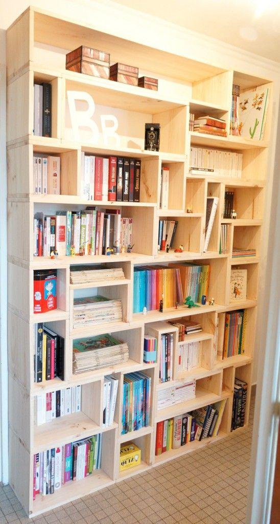 fabriquer sa biblioth que en bois sur mesure tag res pinterest bois sur mesure. Black Bedroom Furniture Sets. Home Design Ideas