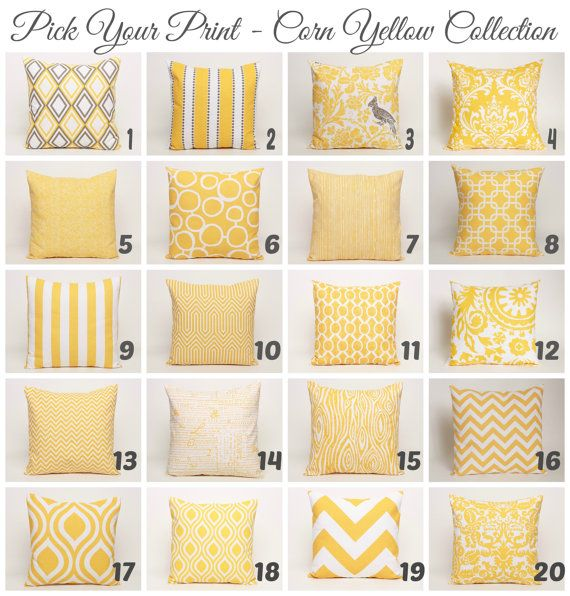 Yellow Throw Pillow Cover Pick Your Print by DimensionsHomeDecor, $15.00
