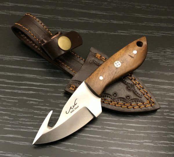 Bi327 440c Steel Custom Handmade Hunting Skinning Gut Hook Knife 6 Full Tang Knife Knife Making Tools Skinning Knife