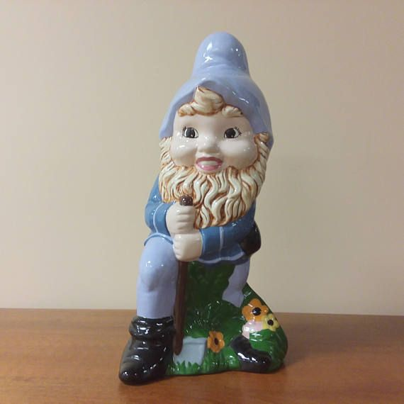 Large Ceramic Gnome Figurine Handmade Glazed In Shades Of Blue Etsy Ceramics Figurines Ceramic Painting
