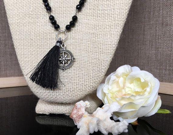 Black  Tassel Necklace  Black Tassel by GreenGeckoJewellery