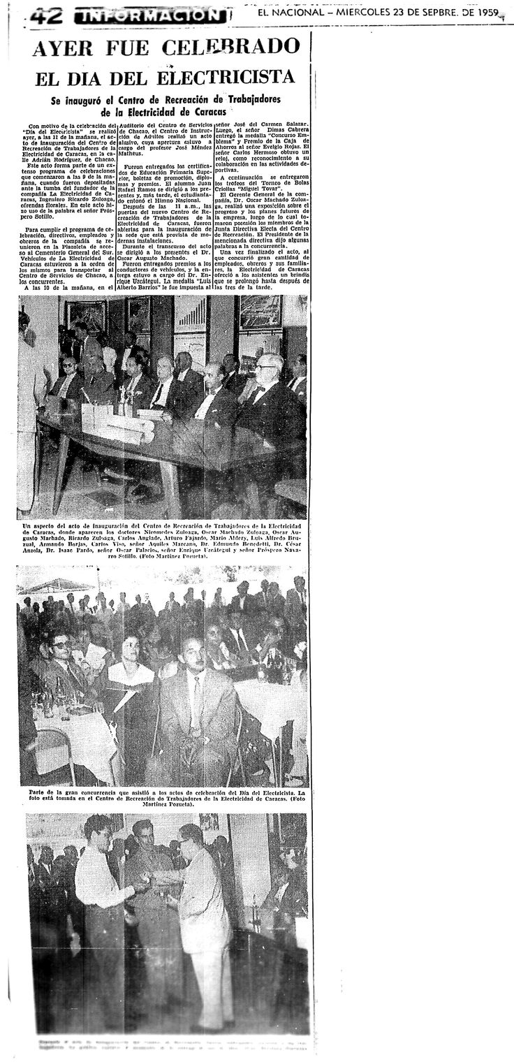 Por ser día del electricista se inauguró el centro de recreación de trabajadores de la electricidad de caracas. Publicado el 23 de septiembre de 1959
